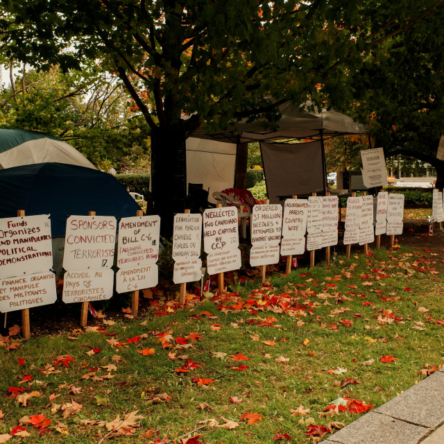 """""""Conspiracy theorists camp in downtown Ottawa"""" stock image"""