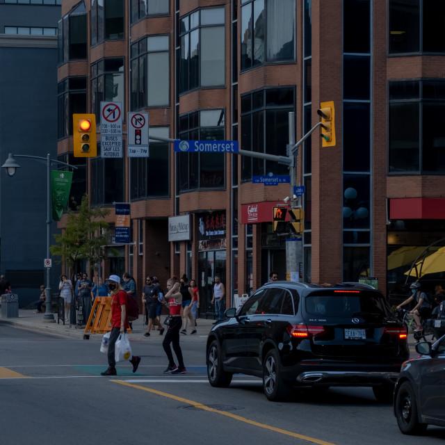 """Somerset & Bank Streets in Ottawa"" stock image"