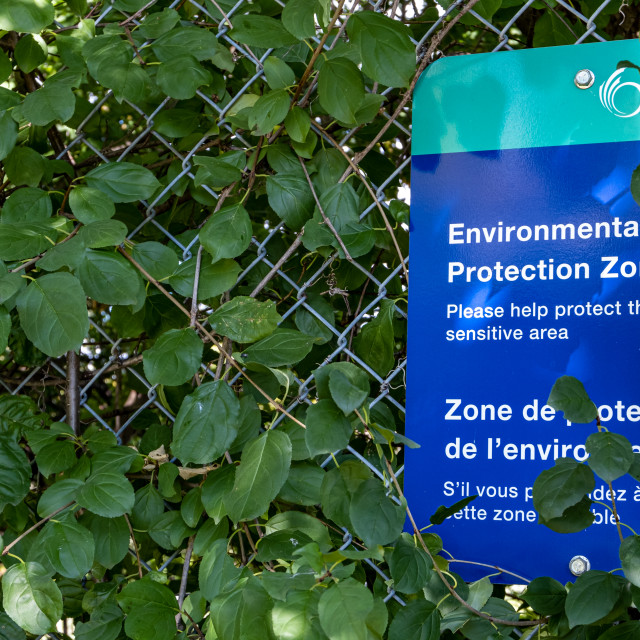 """Environmental Protection Zone sign at Ottawa park"" stock image"