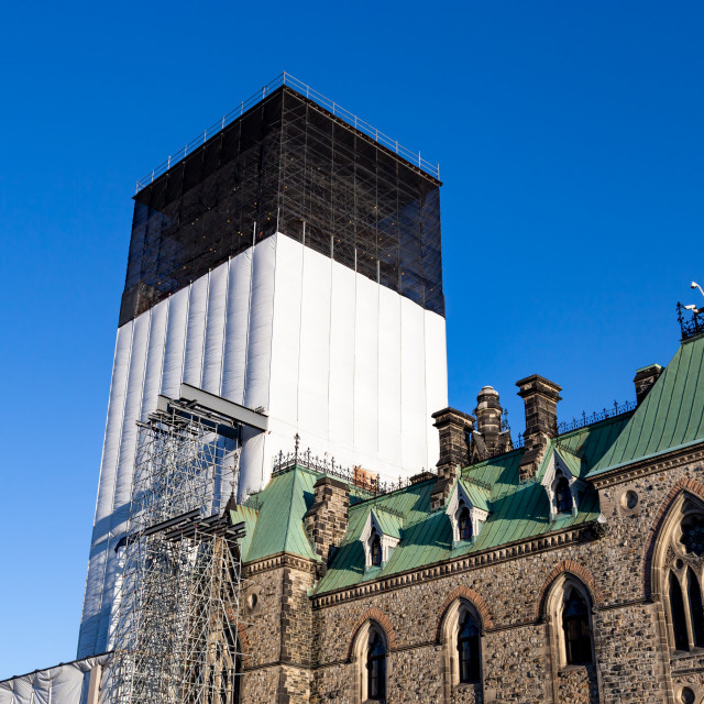 """Ottawa construction on Parliament Hill, East Block"" stock image"