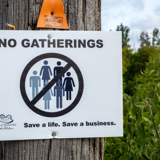 """""""No Gatherings sign in Ontario town during pandemic"""" stock image"""