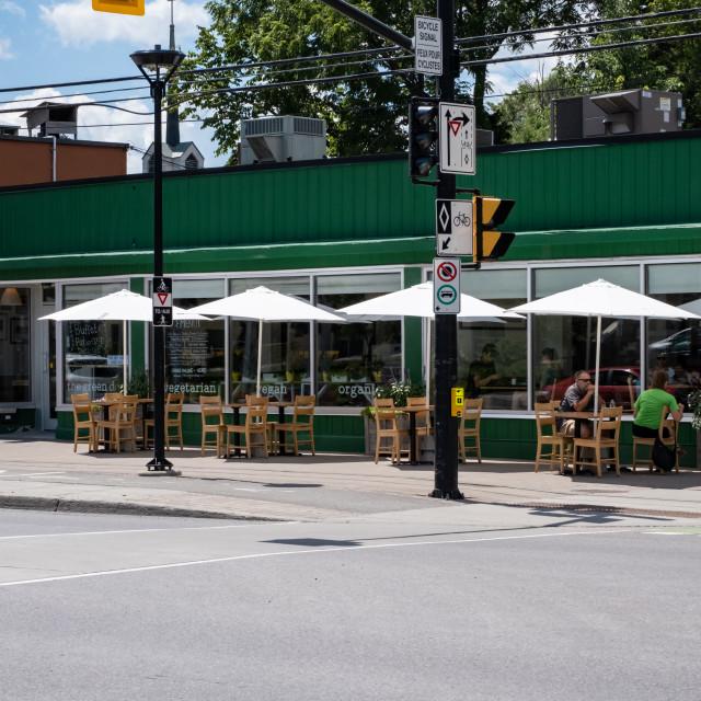"""""""The Green Door vegetarian restaurant in Ottawa"""" stock image"""