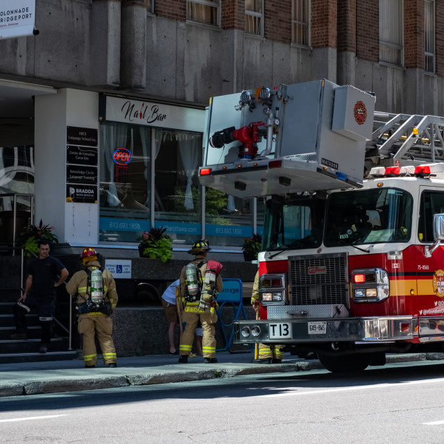 """Ottawa Fire Services respond to emergency call"" stock image"