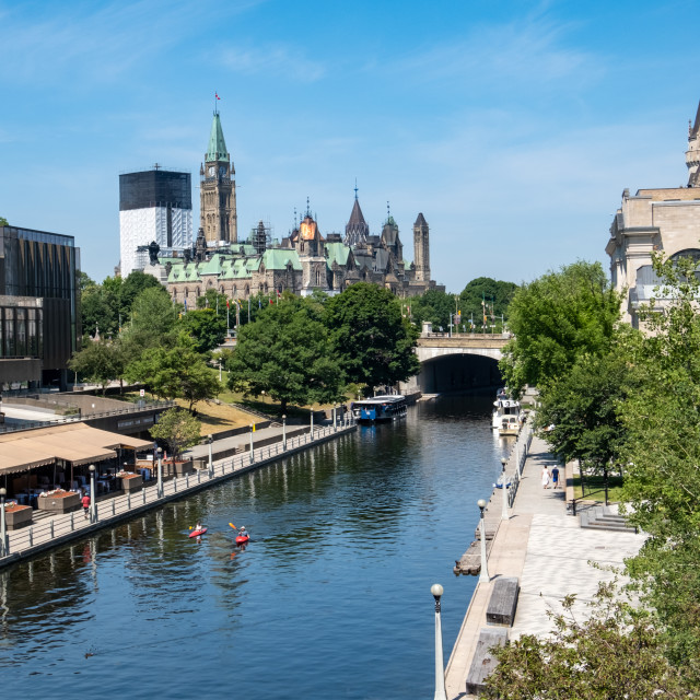 """""""Kayaks on the Rideau Canal of Downtown Ottawa"""" stock image"""