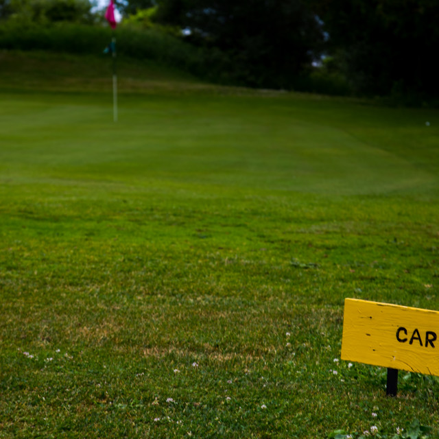 """""""Golf Course Sign Directs Carts This Way"""" stock image"""
