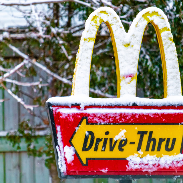 """""""Canadian McDonald's Drive-Thru Sign in Winter"""" stock image"""