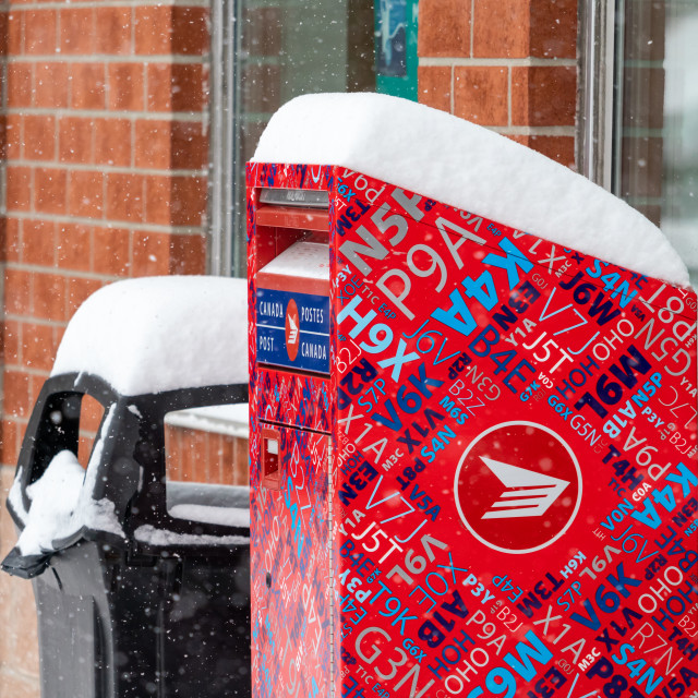 """""""Canada Post Letter Mailbox with Winter Snow"""" stock image"""