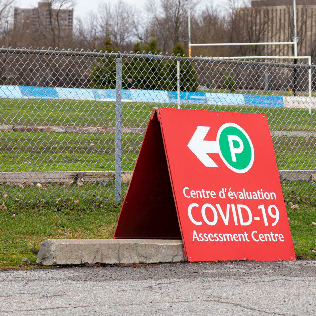 """COVID-19 Assessment Centre sign in Ottawa"" stock image"