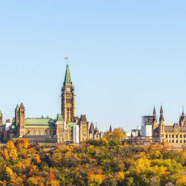 """Canadian Parliament Buildings from the West"" stock image"