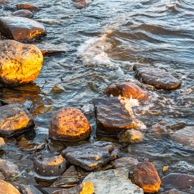 """""""River Waves on a Rocky Shore"""" stock image"""