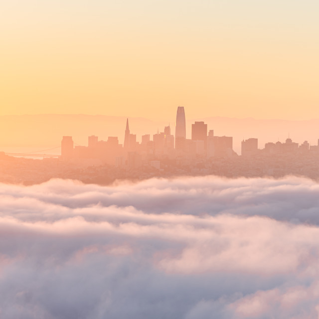 """""""The city wakes up."""" stock image"""