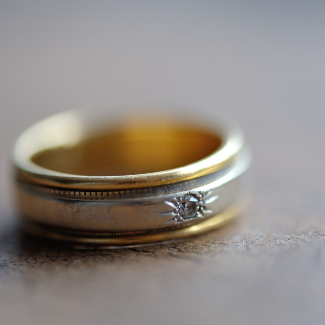 """Male Wedding Band Gold and Platinum With diamond Macro"" stock image"