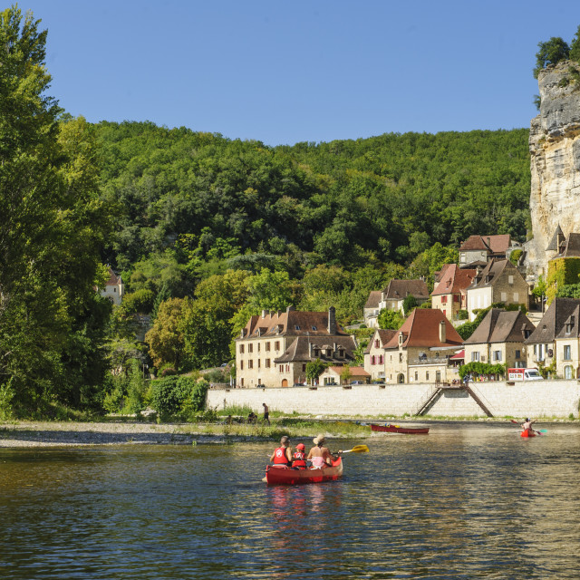 """Kayaking on the river Dordogne, France"" stock image"