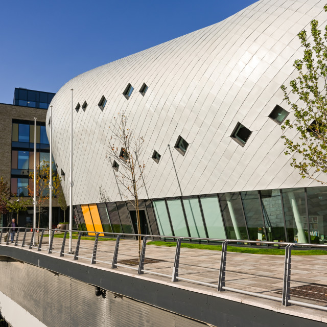 """""""New public library building and riverside walk in Pontypridd."""" stock image"""