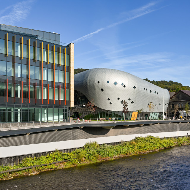 """""""New Taff Vale office development on the banks of the River Taff in Pontypridd"""" stock image"""