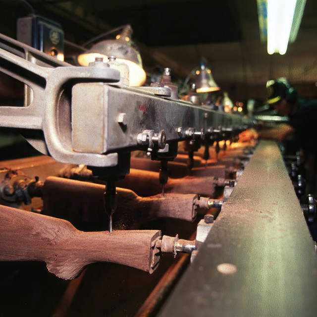 """Gun Stock Production-Warsaw, Missouri"" stock image"