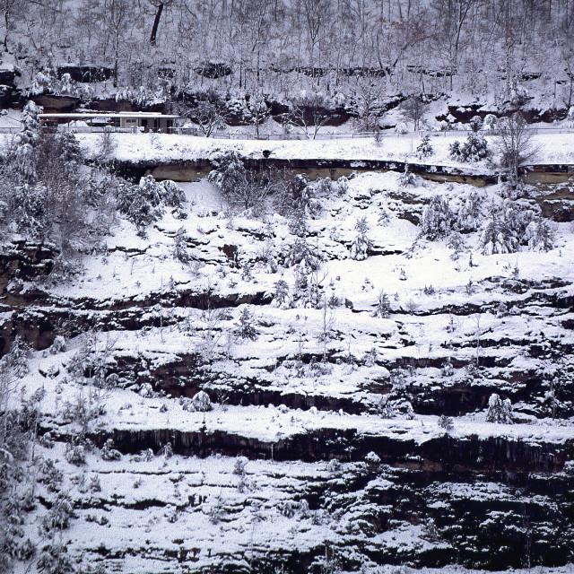 """""""Ozarks Snow Covered Bluff Beaver Lake Arkansas"""" stock image"""