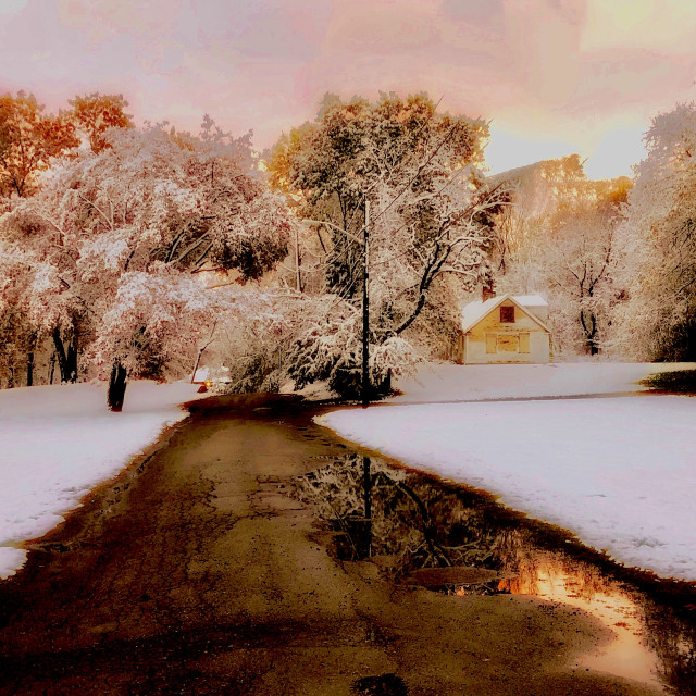 """""""Pink Sunset After Late Autumn Snowfall"""" stock image"""