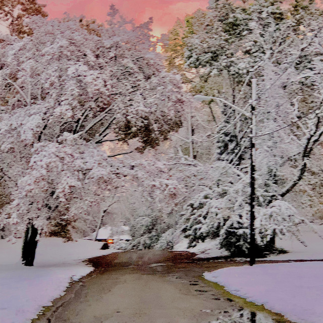 """""""Pink Sky and Snow"""" stock image"""