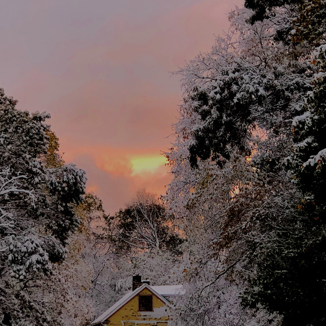 """""""Old Mill in a Snowy Sunset"""" stock image"""