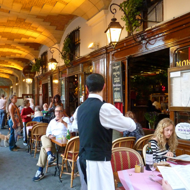 """Restaurant Cafe in Place des Vosges Paris France"" stock image"