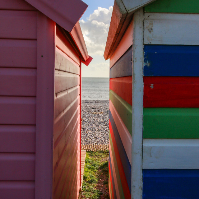 """""""Budleigh Beach Huts"""" stock image"""