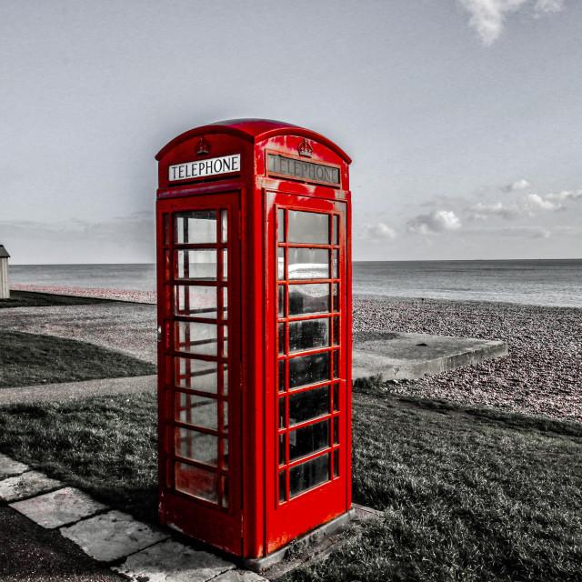 """Seaside Phone Box"" stock image"