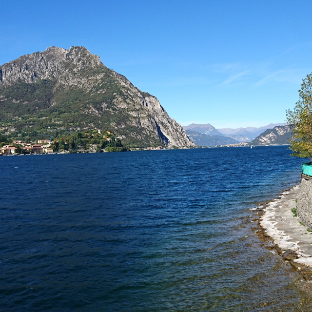 """Lecco Lake Como at Adda River"" stock image"