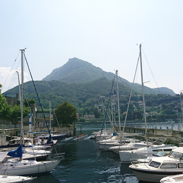 """Sail boats at Lake Como"" stock image"