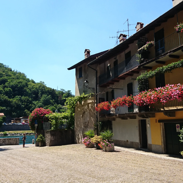"""House with flowers Lake Como"" stock image"