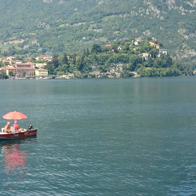 """Boat on lake Como"" stock image"