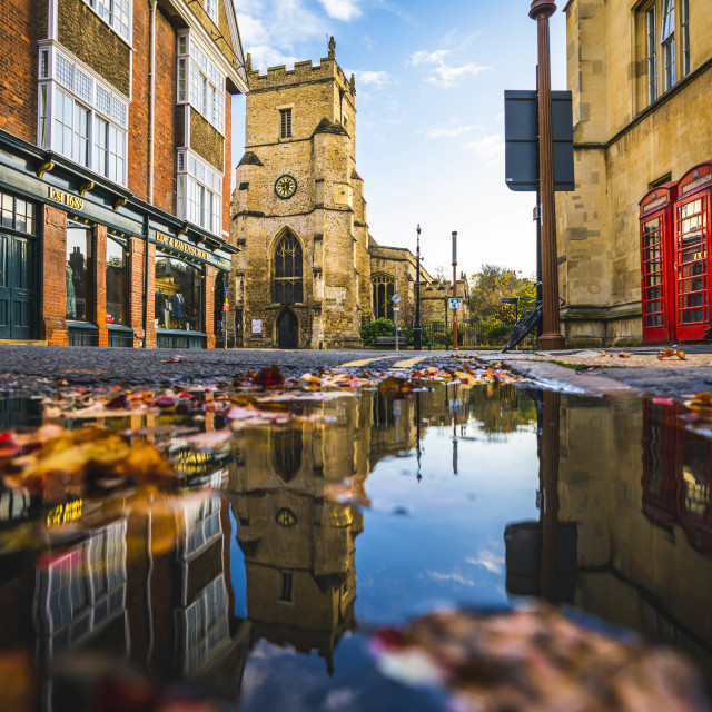 """Autumn reflections from Silver Street, Cambridge UK."" stock image"
