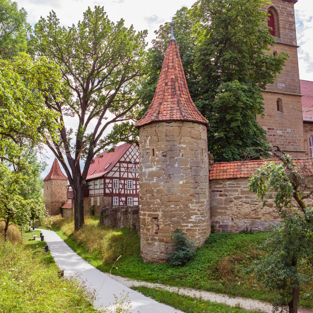 """""""Wallgraben and town wall of Bad Rodach"""" stock image"""