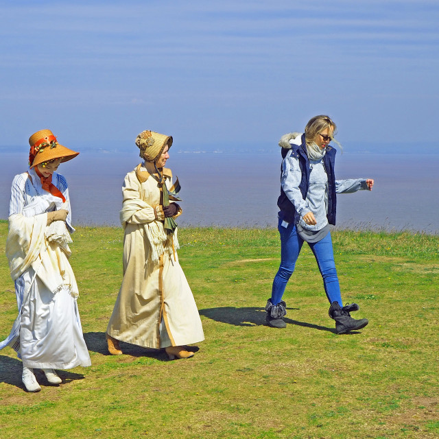 """Sanditon Characters Filming on Brean Down Somerset"" stock image"