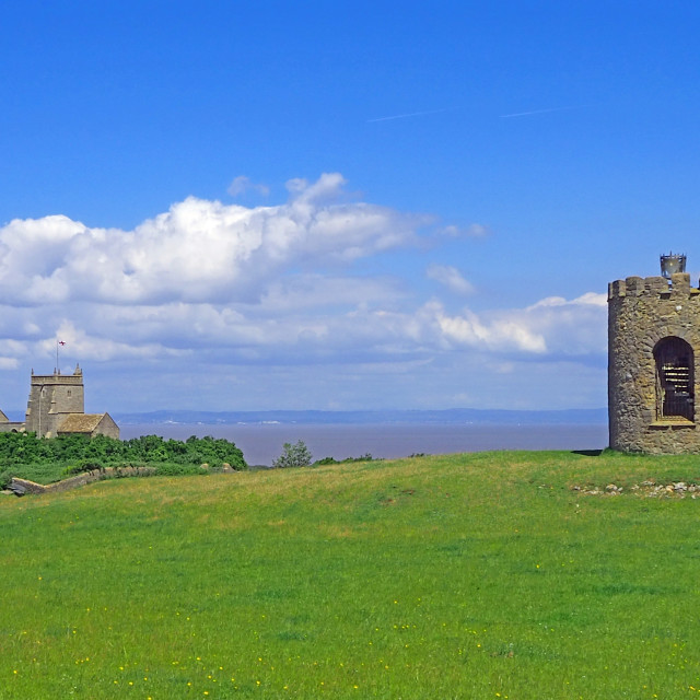 """The tower and Church at Uphill Somerset"" stock image"