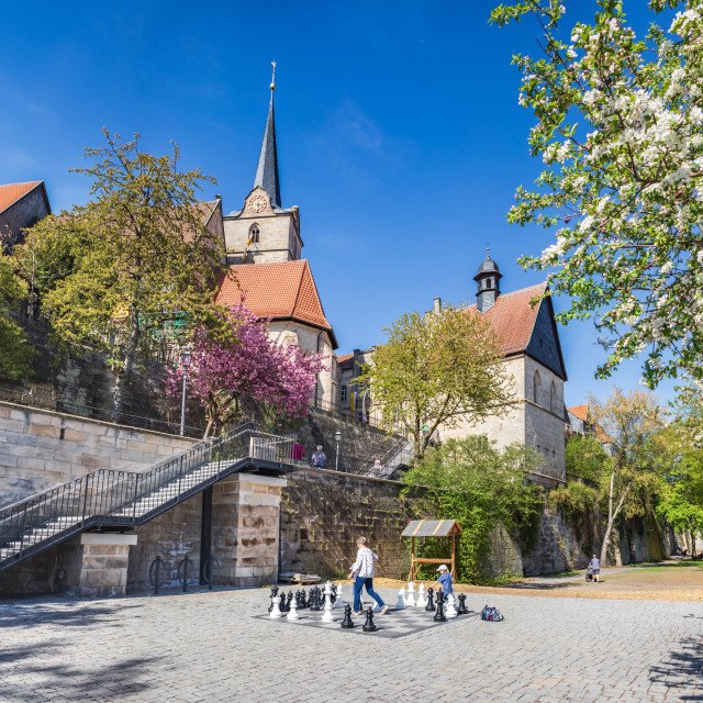 """Garden at St. Johannes church of Kronach"" stock image"