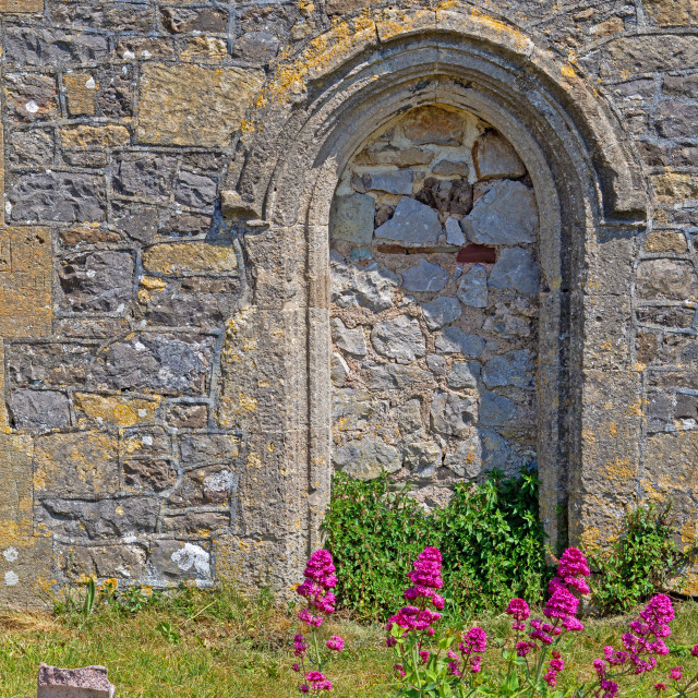 """Stonework detail on the old Norman Church Uphill Somerset"" stock image"