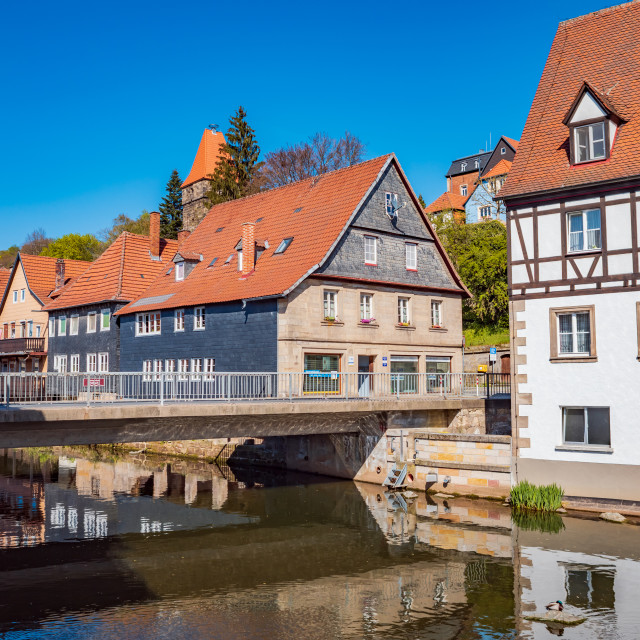 """Haßlach river in front of fortress Rosenberg"" stock image"