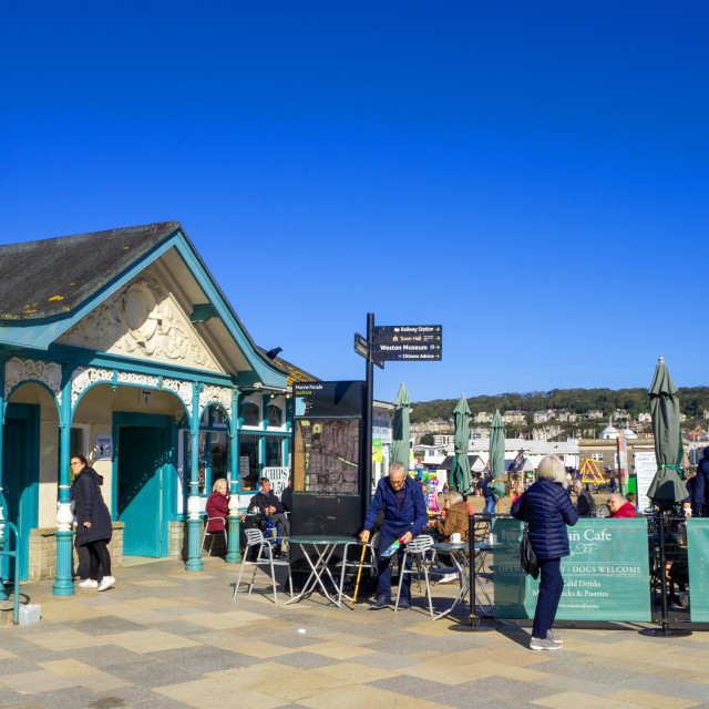 """Victorian Cafe on the seafront at Weston Super Mare Somerset"" stock image"