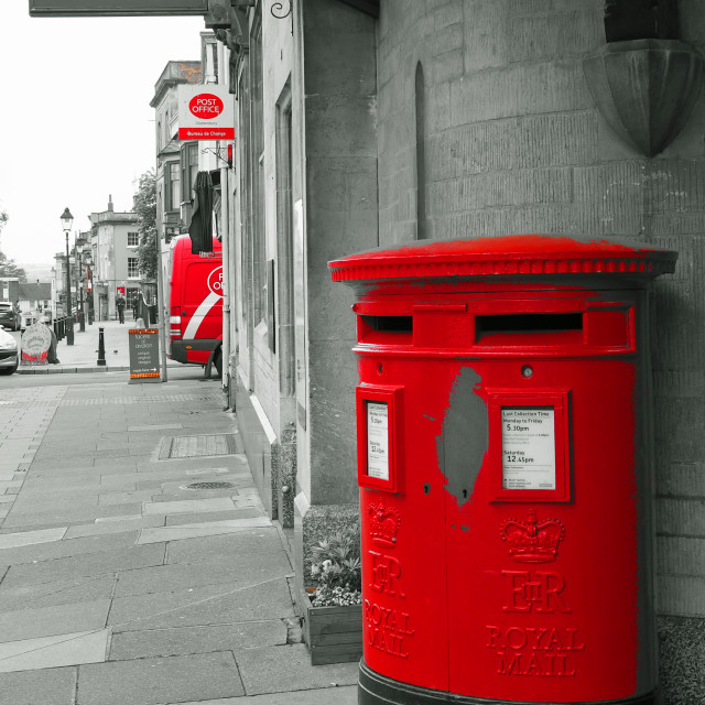 """Post box Glastonbury Somerset"" stock image"