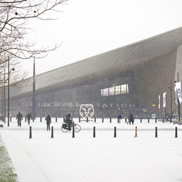 """""""Rotterdam central station in winter"""" stock image"""