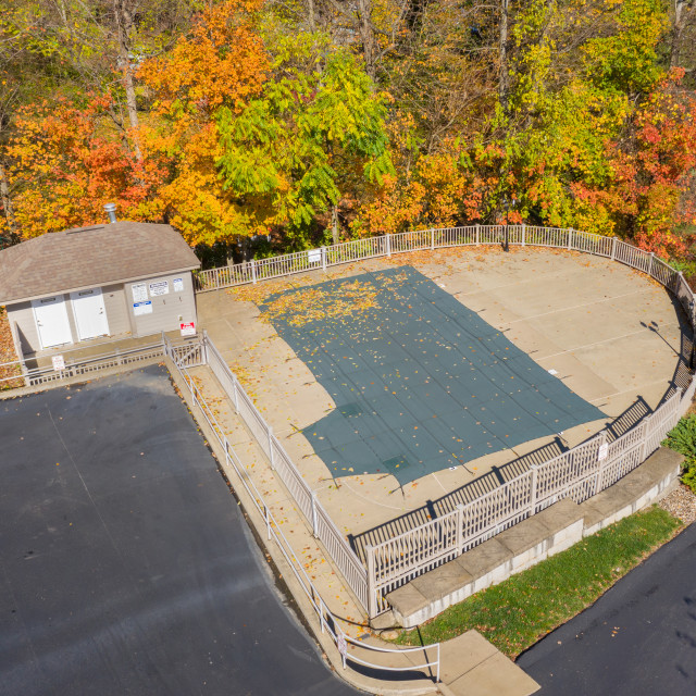 """""""Aerial drone photo of the swimming pool covering protecting the facility from..."""" stock image"""