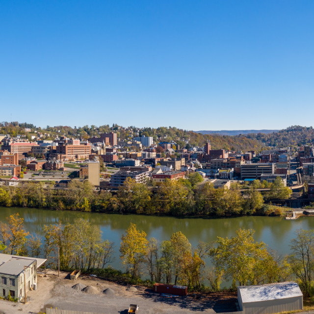 """""""Aerial drone panorama of the downtown area and university in Morgantown, West..."""" stock image"""