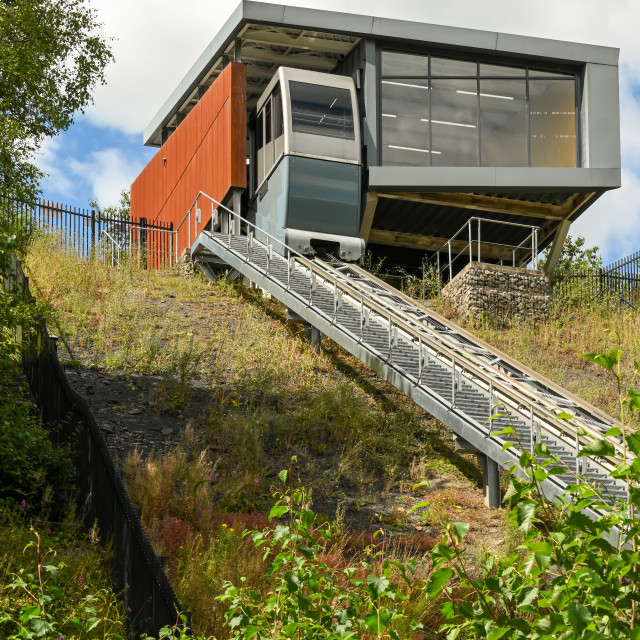 """""""Funicular railway which links the town of Ebbw Vale with the local further education college"""" stock image"""