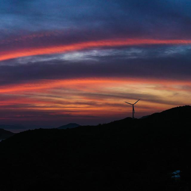 """November sunrise over Lamma Island"" stock image"