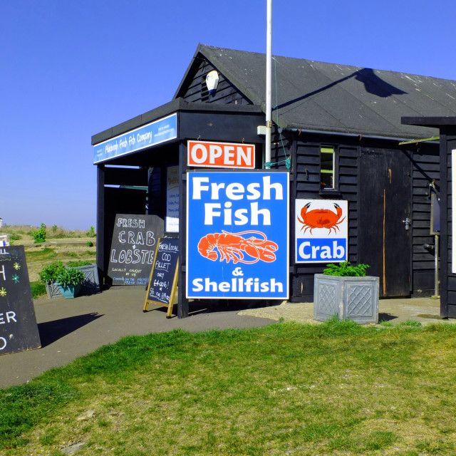 """Aldeburgh beach selling fresh fish"" stock image"