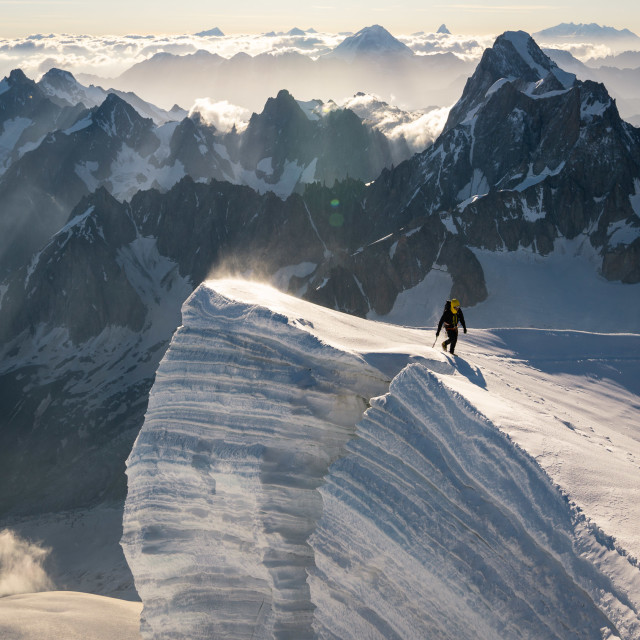 """Adrien facing giants from Mont Blanc du Tacul"" stock image"