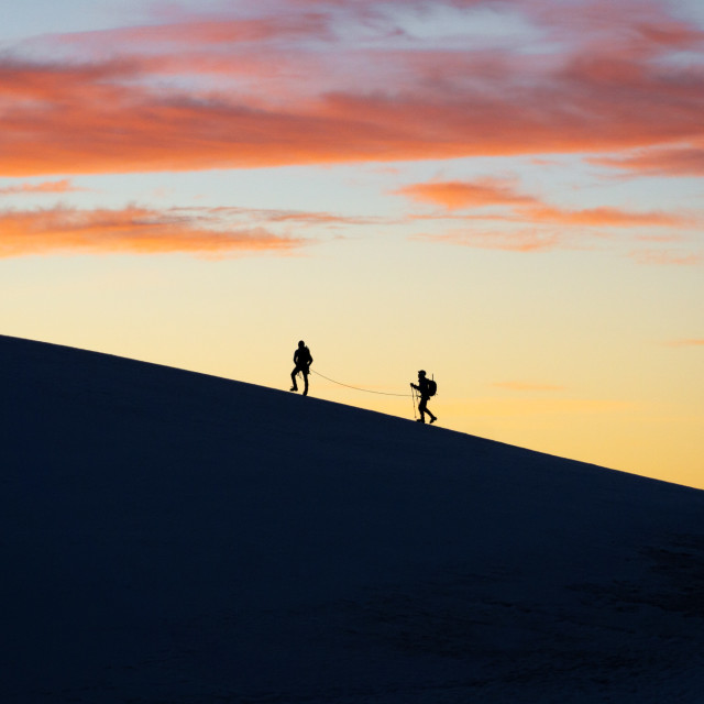 """Rope team on the Lyskamm ridge"" stock image"