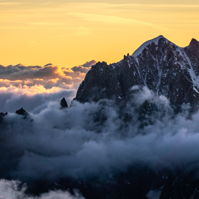 """The mighty Aiguille Verte at sunrise"" stock image"