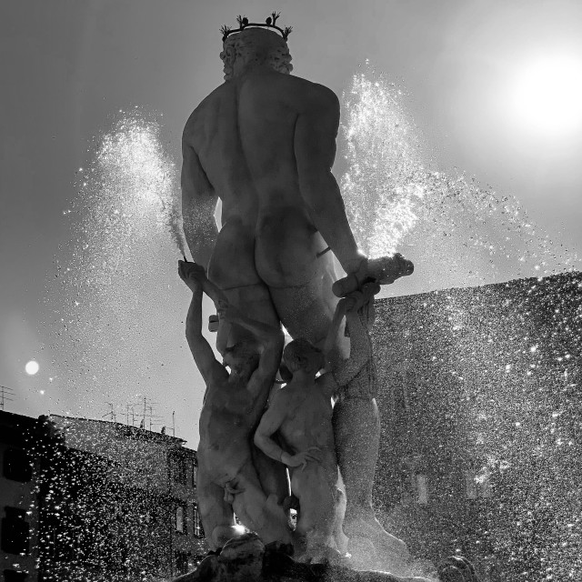 """""""The Fountain of Neptune, Florence - Italy"""" stock image"""